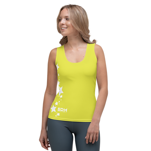 Women's Vest - EDM J to F White Star - Lime Yellow