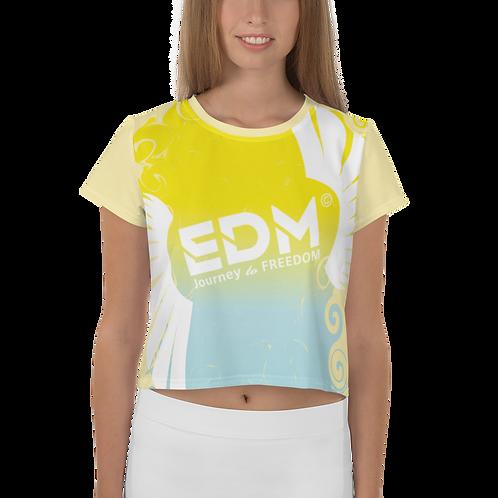 Womens Crop Top - EDM J to F Gradient Swirl Yellow/Blue Large Logo White - Lemon