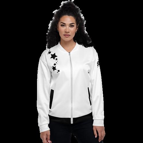 Women's Unisex Fit Bomber Jacket - EDM J to F - White Black Star