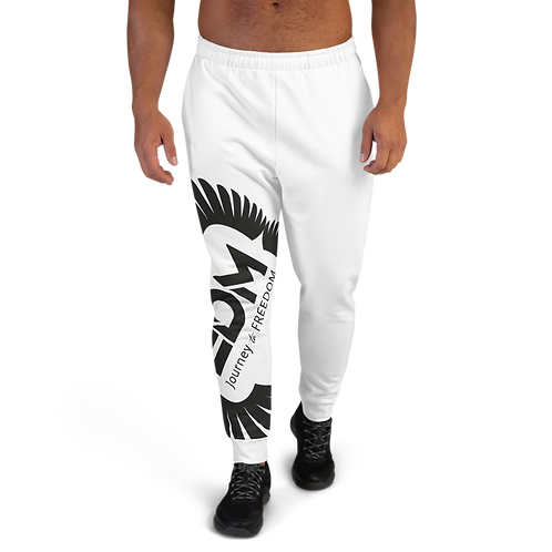 White Men's Joggers - EDM Journey to Freedom Print - Black