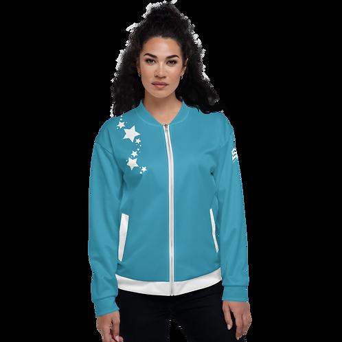 Women's Unisex Fit Bomber Jacket - EDM J to F - Blue Teal White Star