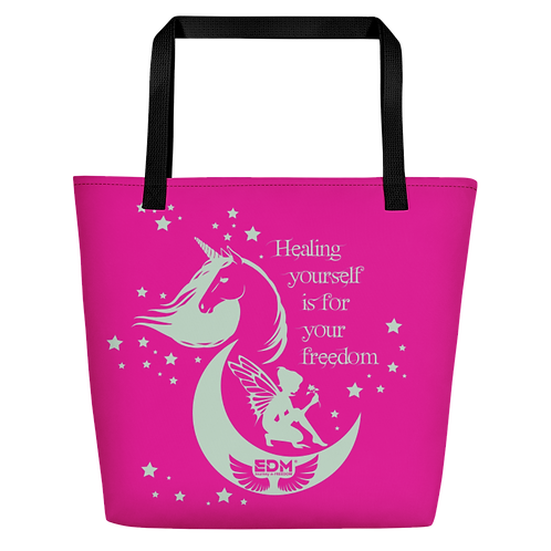 Beach Bag - Unicorn Fairy Sage - Pink
