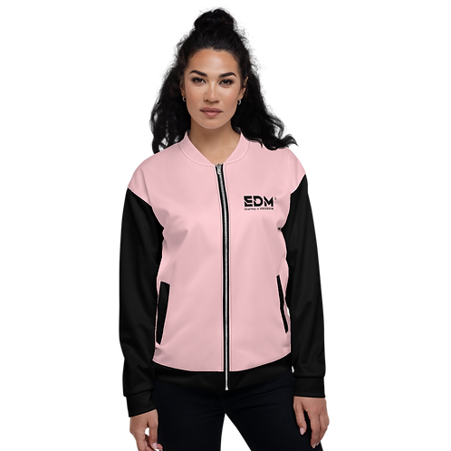 Womens Unisex Fit Bomber Jacket - EDM J to F Two-Tone Baby Pink / Black