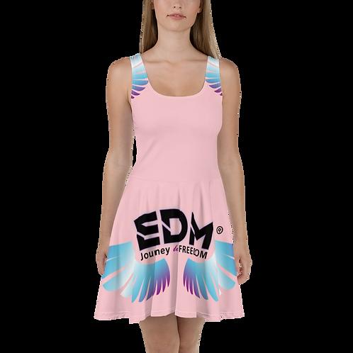 Womens Skater Dress - EDM J to F Multi Logo - Baby Pink