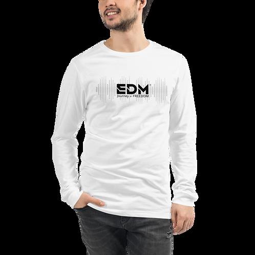 Mens Long Sleeve T-shirt - EDM J to F sound bars Logo Black - White