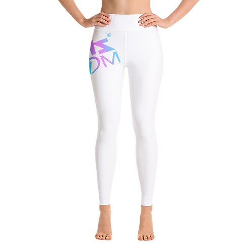Women's Leggings - HS Design & Music Multi Gradient Logo - White