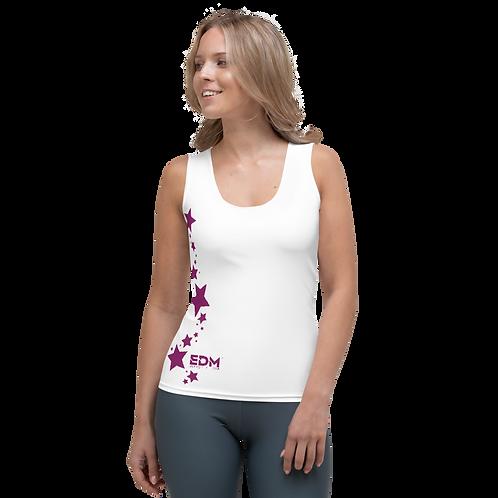 Women's Vest - EDM J to F Plum Star - White