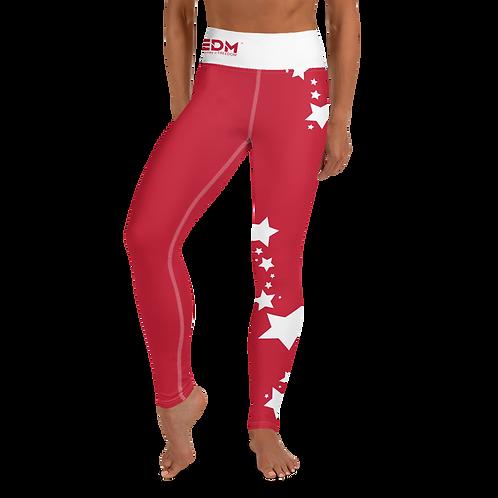 Women's Leggings White Star - EDM J to F Dark Red