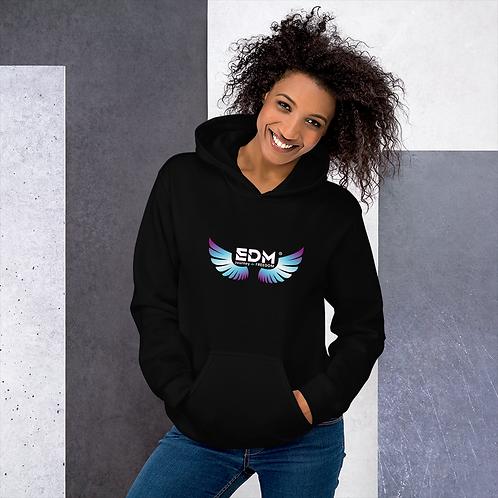 Women's Unisex Hoodie EDM J to F Wings Logo Print Multi - Black