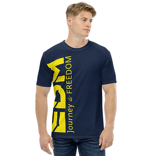Men's T-shirt Navy - EDM Journey to Freedom Large Print - Yellow