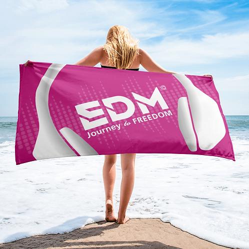 Beach / Bath Towel - EDM J to F Headphones White - Dark Pink