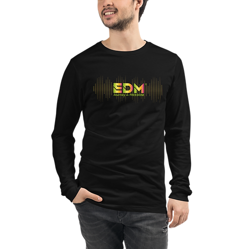 Mens Long Sleeve T-shirt - EDM J to F sound bars Logo Multi - Black