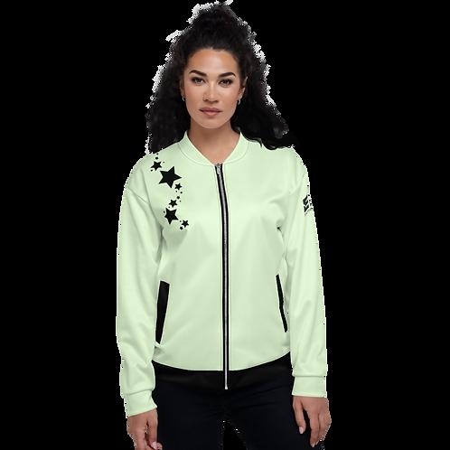 Women's Unisex Fit Bomber Jacket - EDM J to F Mint - Black Star