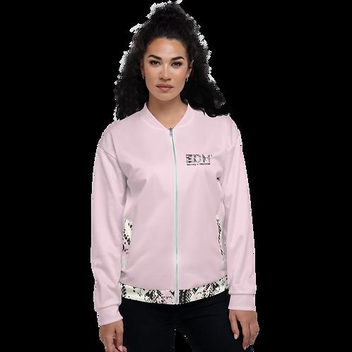 Women's Unisex Fit Bomber Jacket - EDM J to F Snake Print - Pink