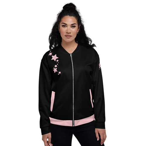 Women's Unisex Fit Bomber Jacket - EDM J to F - Black Baby Pink Star