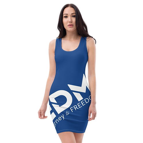 Body Con Dress - Royal Blue EDM Journey to Freedom No wings Print - White