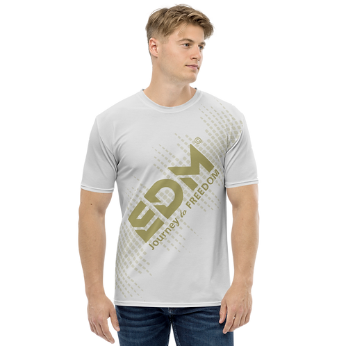 Men's T-shirt - EDM J to F Sound Bars - Gold/Ice Grey