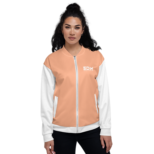 Women's Unisex Fit Bomber Jacket - EDM Journey to Freedom White / Peach Orange
