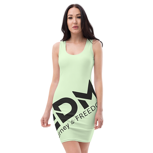 Body Con Dress - Mint EDM Journey to Freedom No wings Print - Black