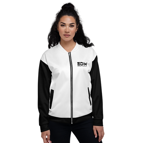 Womens Unisex Fit Bomber Jacket - EDM J to F Two-Tone White / Black