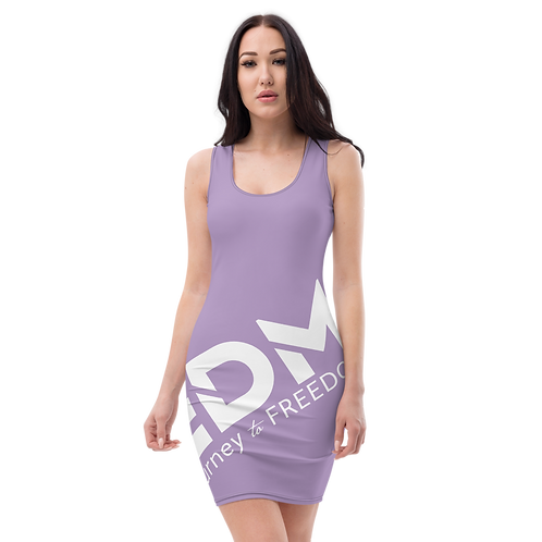 Body Con Dress - Lilac EDM Journey to Freedom No wings Print - White