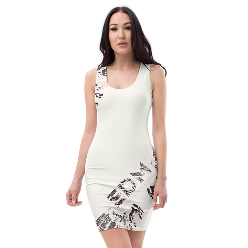 Women's Body Con Dress - EDM J to F Snake Print Logo - Cream