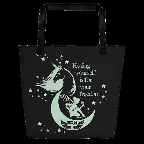 Beach Bag - Unicorn Fairy Sage - Black