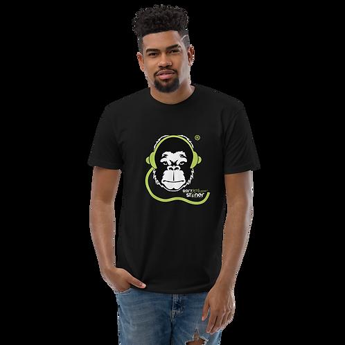 Mens Fitted T-shirt - GS Music Academy Ape DJ - Black