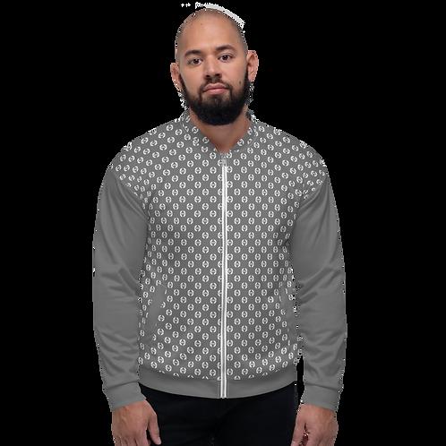 Men's Unisex Fit Bomber Jacket - EDM Journey to Freedom Pattern Grey / White