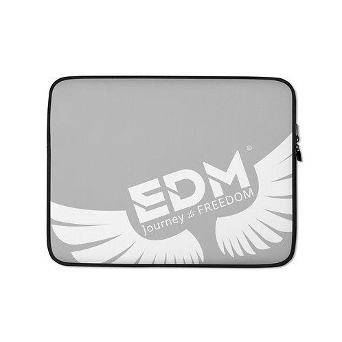 "Grey Laptop Sleeve - 13"", 15"" - EDM Journey to Freedom Print - White"
