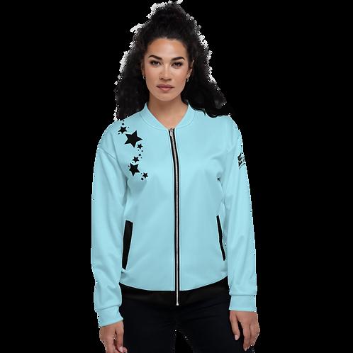Women's Unisex Fit Bomber Jacket - EDM J to F Sky Blue - Black Star