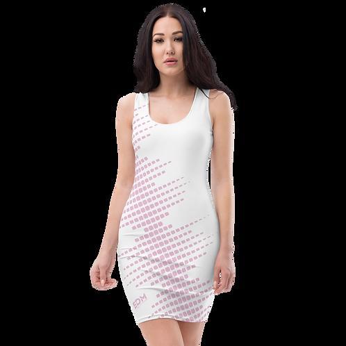 Body Con Dress - EDM J to F Sound Bars Pink - White