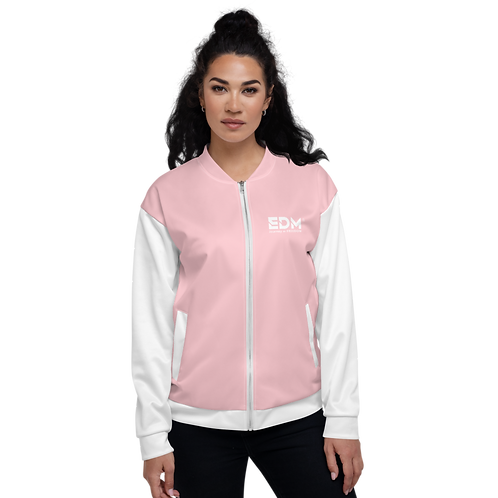 Womens Unisex Fit Bomber Jacket - EDM Journey to Freedom White / Baby Pink