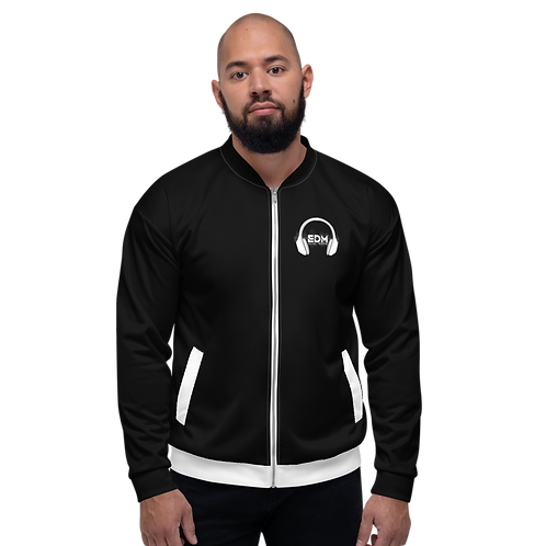 Mens Unisex Fit Bomber Jacket - EDM J to F - Black / White DJ Style