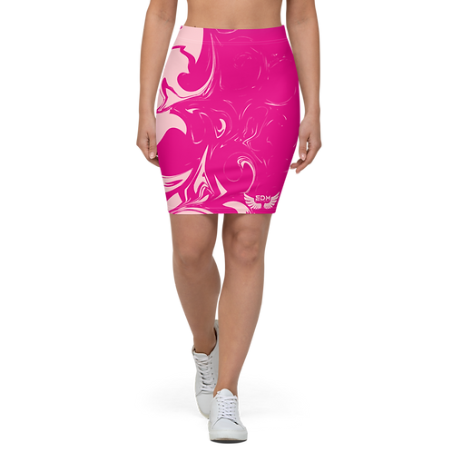 Women's Pencil Skirt-EDM J to F Hot Pink Swirl - Baby Pink