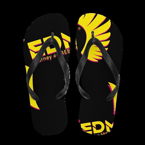 Flip-Flops Black EDM Journey to Freedom Print - Hot Pink / Yellow