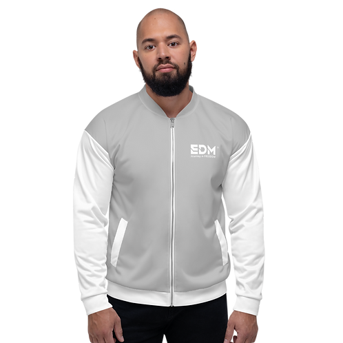 Mens Unisex Fit Bomber Jacket - EDM Journey to Freedom White / Grey