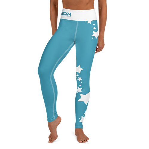 Women's Leggings White Star - EDM J to F Teal Blue