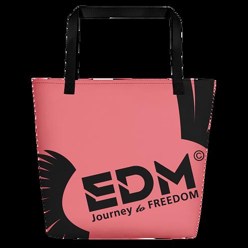 Beach Bag - Coral EDM Journey to Freedom Print - Black