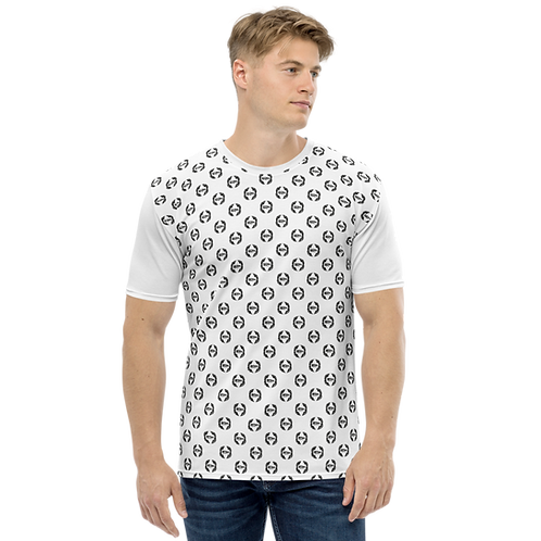Men's T-shirt White - EDM Journey to Freedom Small Pattern Print - Black
