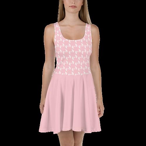 Baby Pink Skater Dress EDM Journey to Freedom Skirt Pattern Print - White