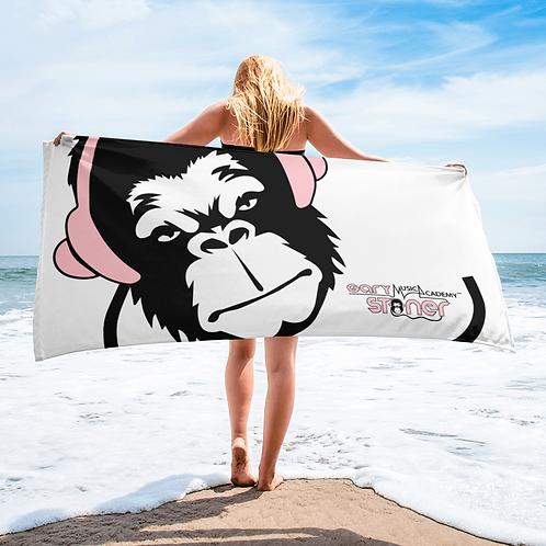 Beach Towel / Towel - GS Music Academy Ape DJ Pink - White