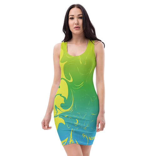 Body Con Dress - EDM J to F Green/Blue Gradient Swirl - Lime Yellow