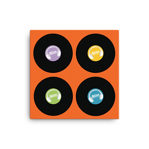 Square Canvas 12x12 / 16x16 - EDM J to F Record x 4 - Orange