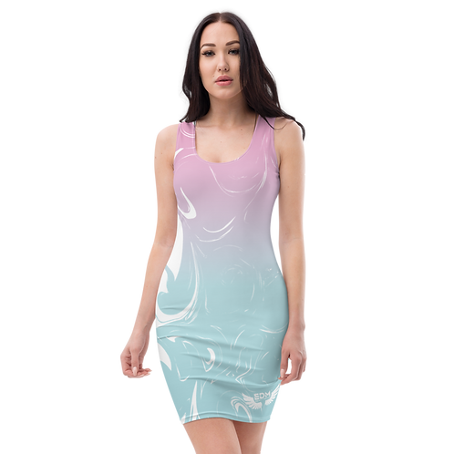 Body Con Dress - EDM J to F Pink/Blue Gradient Swirl - White