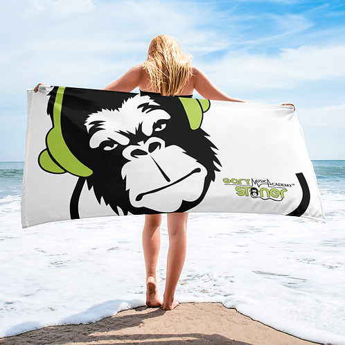 Beach Towel / Towel - GS Music Academy Ape DJ Green - White
