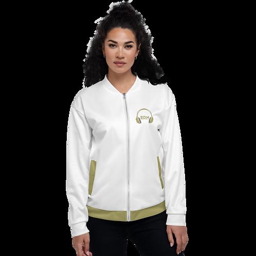 Womens Unisex Fit Bomber Jacket - EDM J to F - White Gold DJ Style