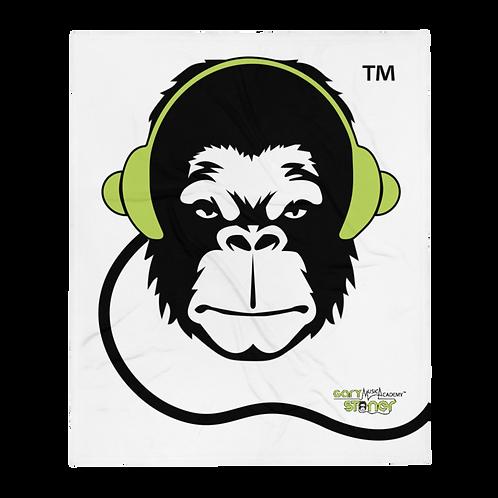 Fleece Throw Blanket - GS Music Academy Ape DJ - White