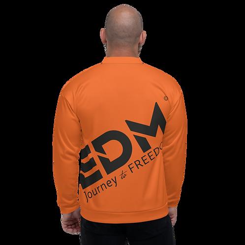Men's Unisex Fit Bomber Jacket - EDM Journey to Freedom Dark Orange / Black
