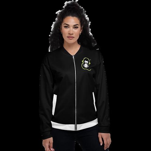 Women's Unisex Fit Bomber Jacket - GS Music Academy - Black / White Detail